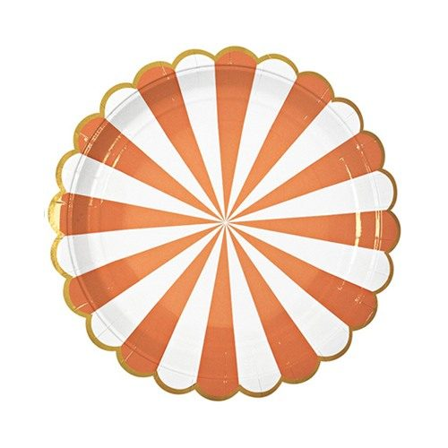 orange and white scalloped paper plate