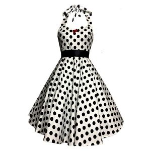 50s polka dot halter dress