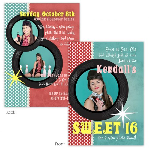 retro pinup sweet 16 invite