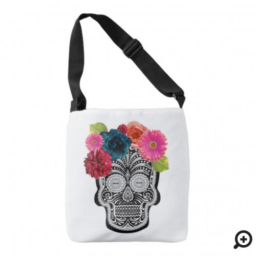 floral skull tote