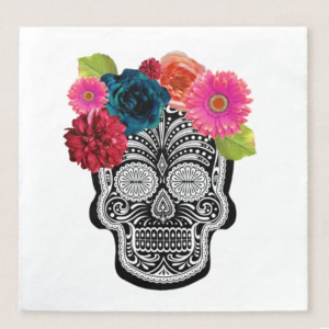 floral skull beverage napkin