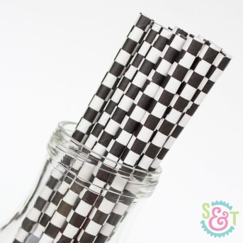 checker paper straws