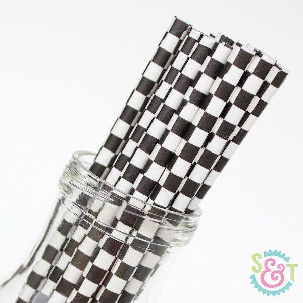 checker paper straws