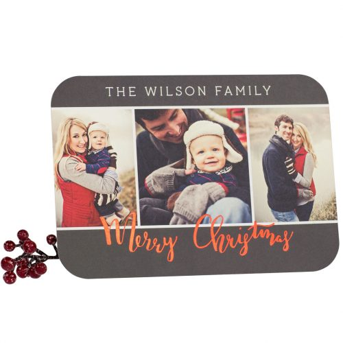 red foil merry christmas card