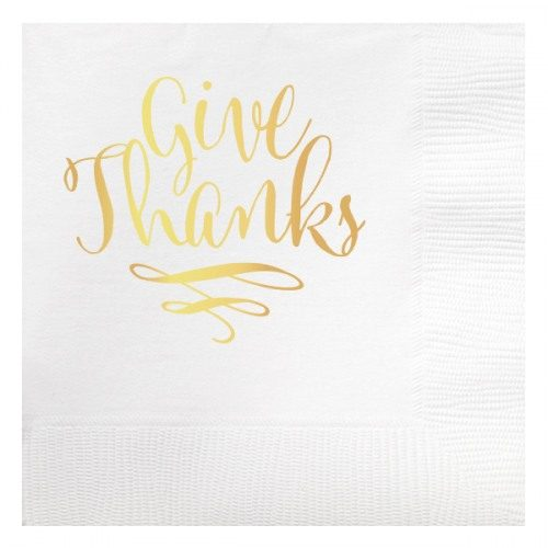 give thanks foil beverage napkin