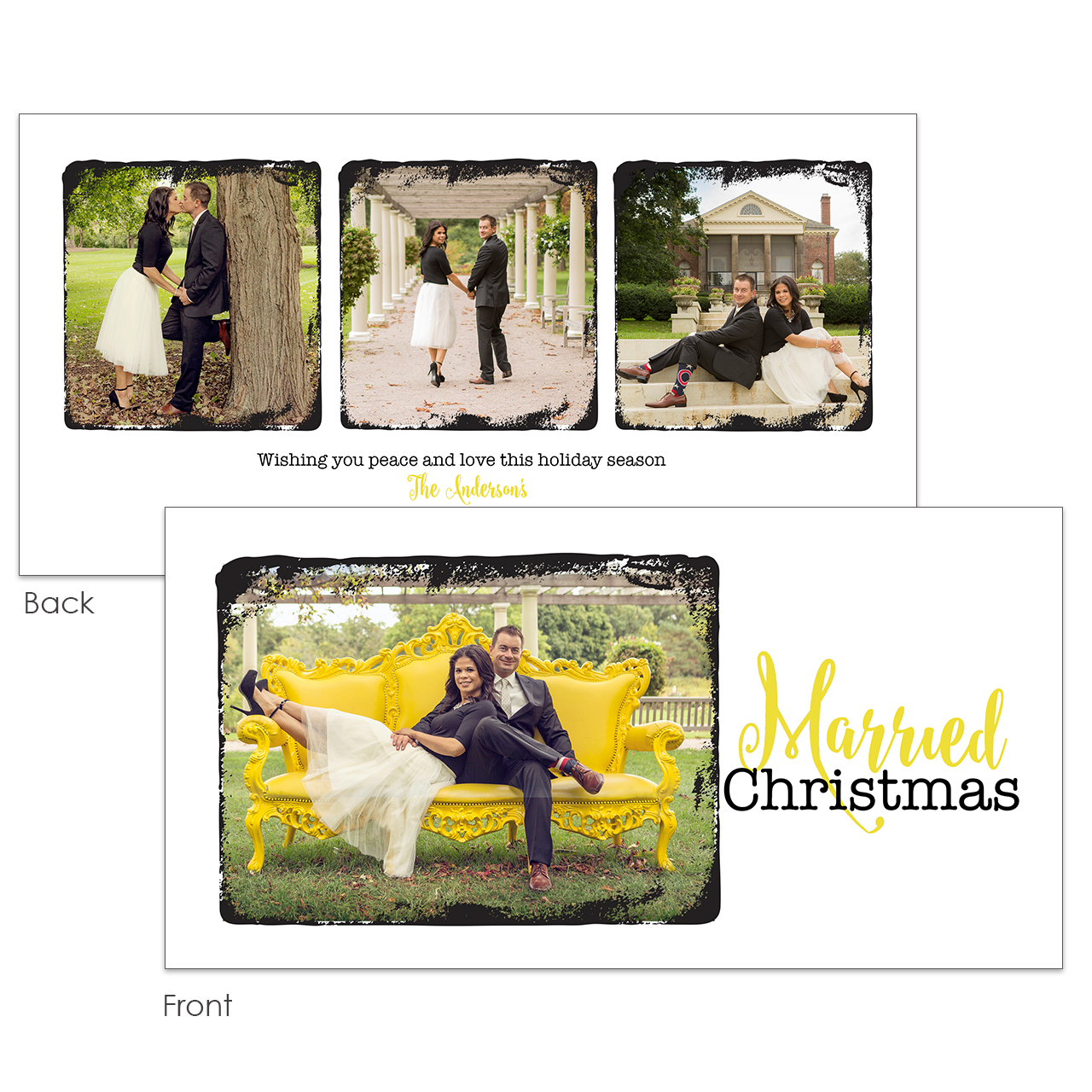 Grunge Frame 4x8 Holiday Card - Jennifer Caminiti Photo + Design
