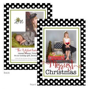 polka dot frame holiday card