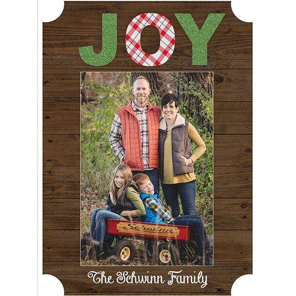 rustic joy greeting card