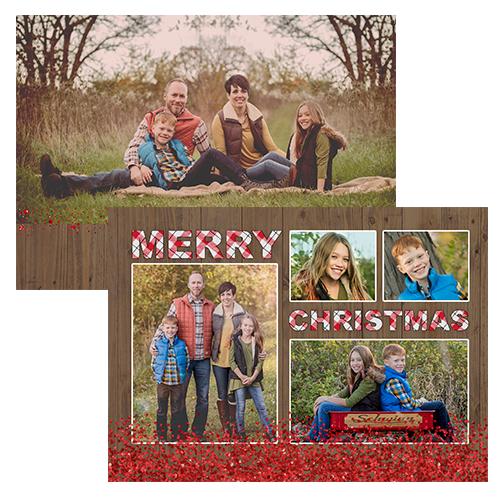 rustic wood holiday greeting card