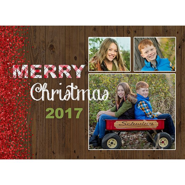 rustic wood holiday greeting card