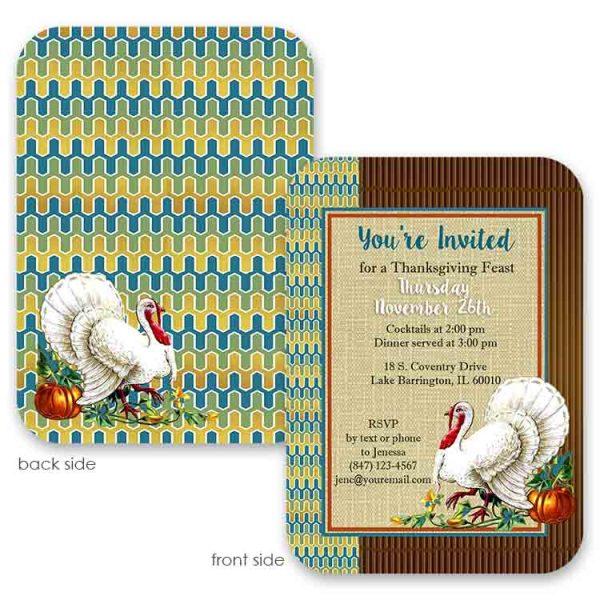 vintage turkey thanksgiving invite