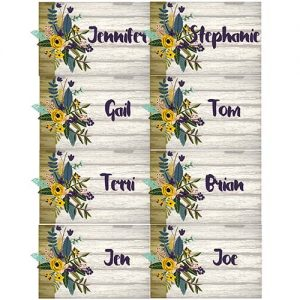 wooden floral place cards