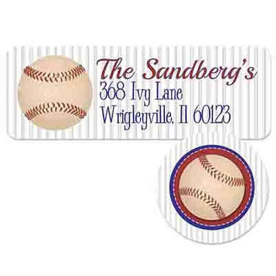baseball address label and seal