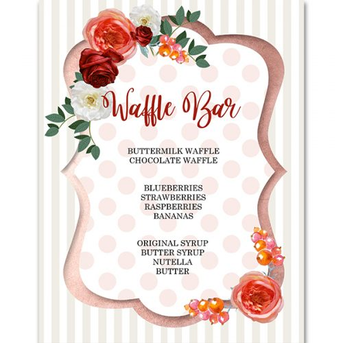 floral and stripe waffle bar sign