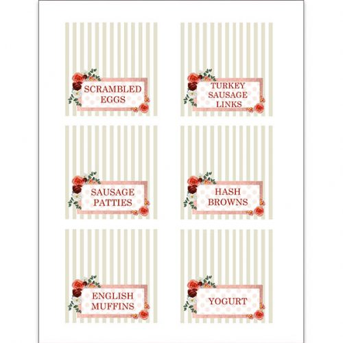 Floral and stripe food tags