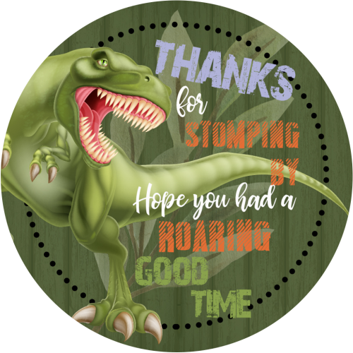 dinosaur 3x3 round thank you sticker