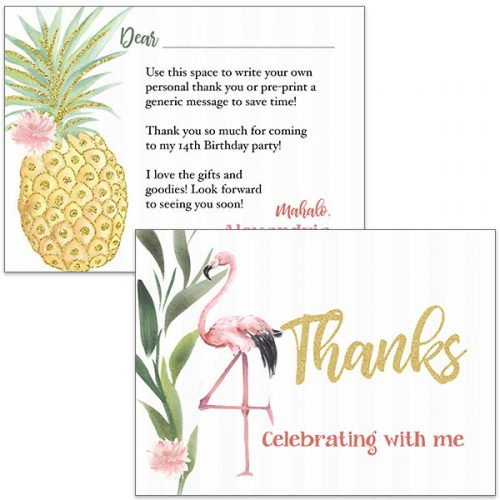 flamingo and pineapple thank you card