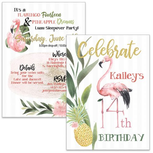 Watercolor Flamingo 14th birthday invite