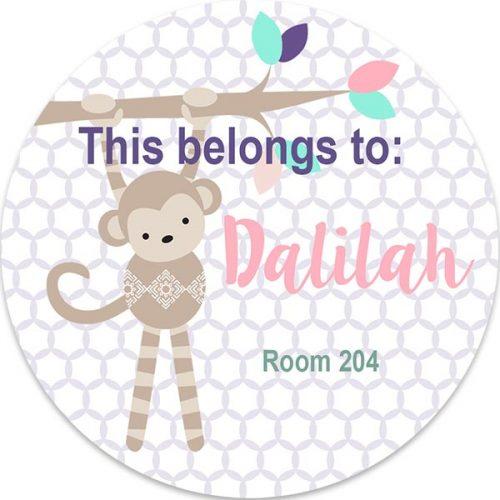monkey personalized 3x3 label