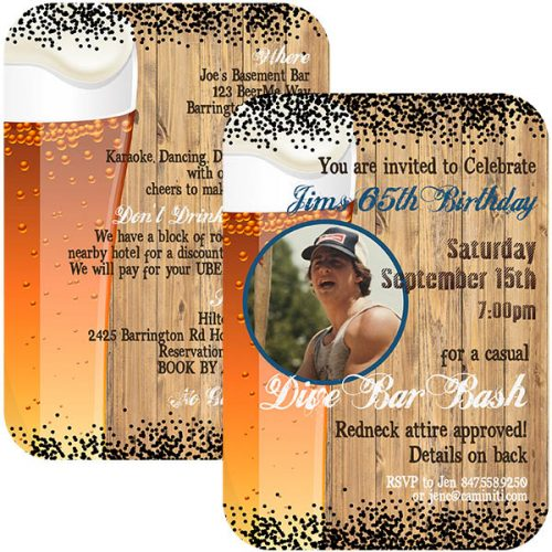 rustic beer bash birthday invite