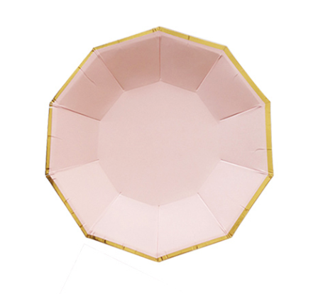 pink and gold paper plate