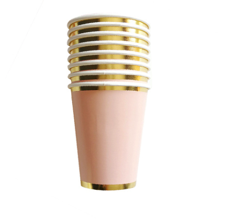 pink and gold paper cups