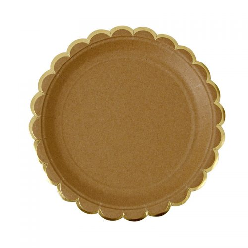 kraft paper plate with gold edge