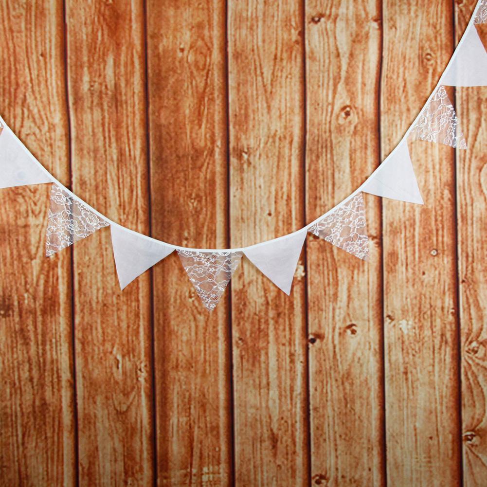 Vintage Rustic Jute Flag Wedding Party Decor Hessian Burlap Lace Bunting Banner