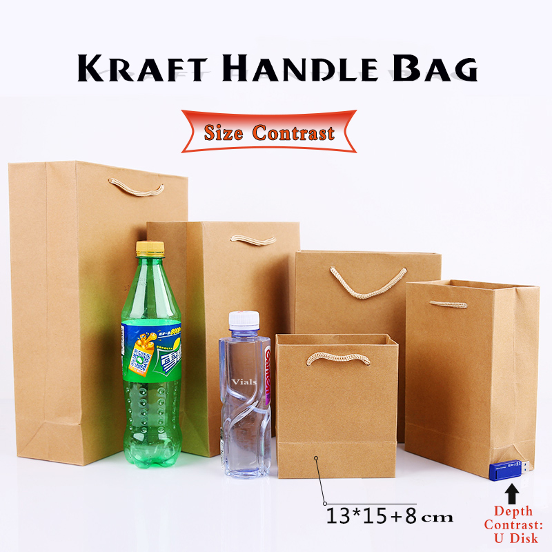 5 Pcs Eco Friendly 13x15cm Small Kraft Paper Bags For Gift Craft