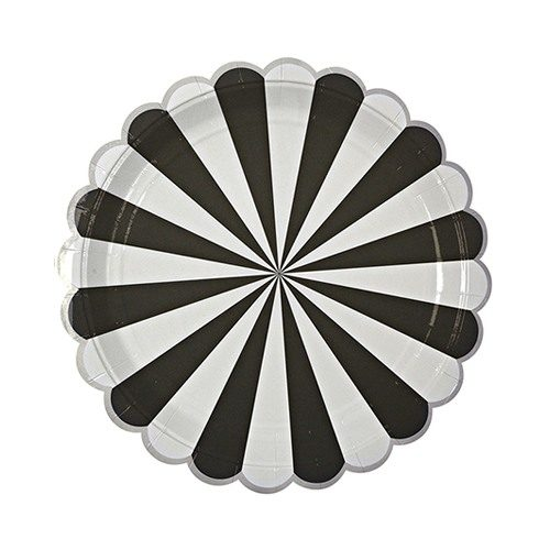 Black and white scalloped paper plates