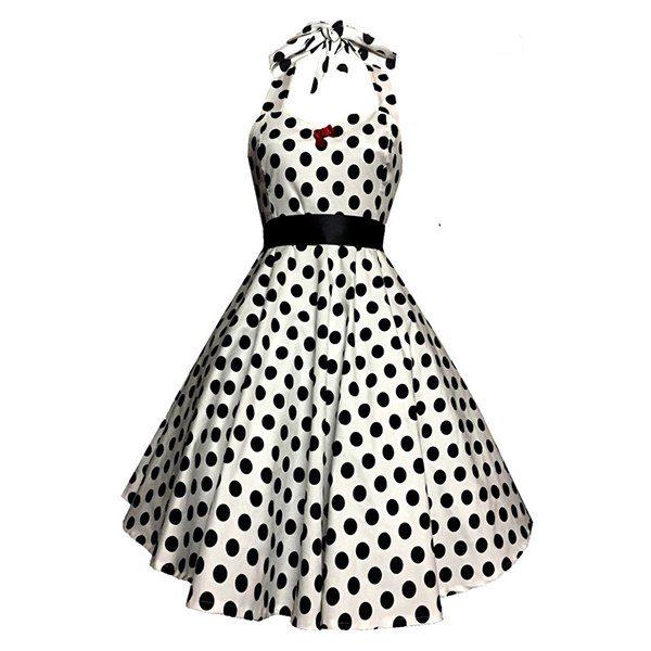 50s polka dot halter dress