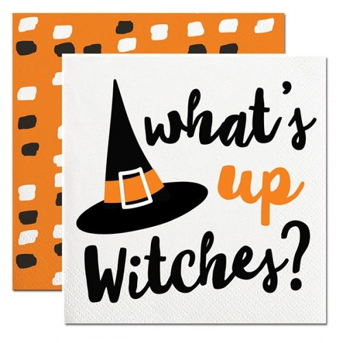 whats up witches beverage napkin