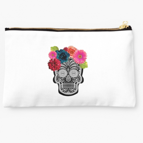 floral skull pouch