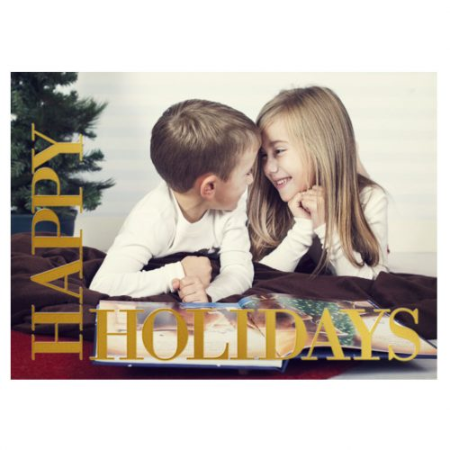 happy holidays foil card