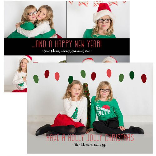 holly jolly lights foil card