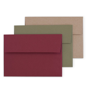 Maroon, Olive and Kraft Envelopes