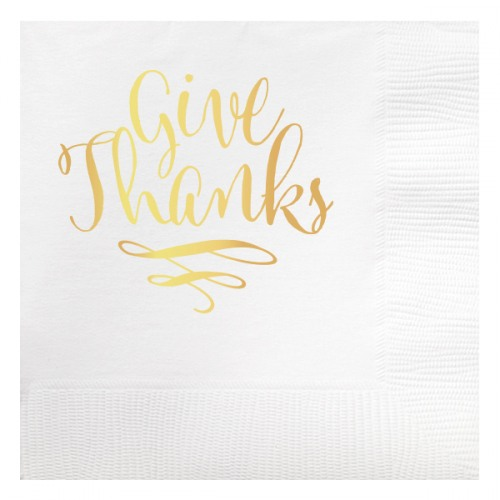 give thanks foil beverage napkin