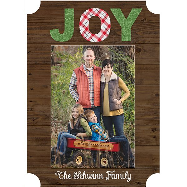 rustic joy greeting card