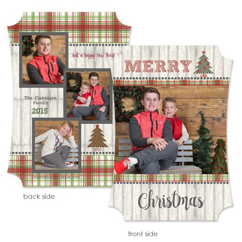 holiday plaid photo greeting card
