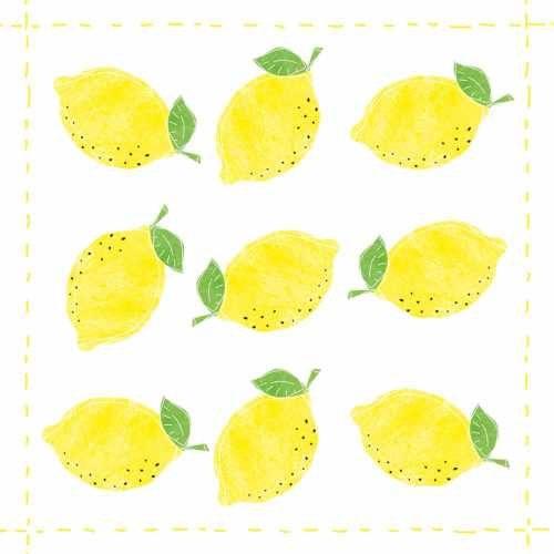 lemon watercolor beverage napkin