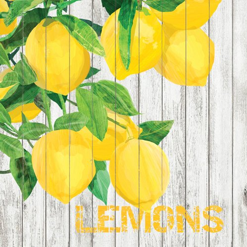 lemon 5x5 beverage napkin