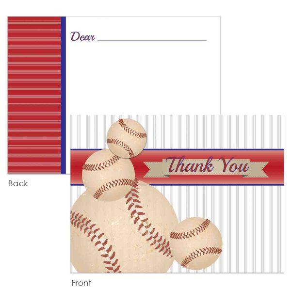 vintage baseball thank you card