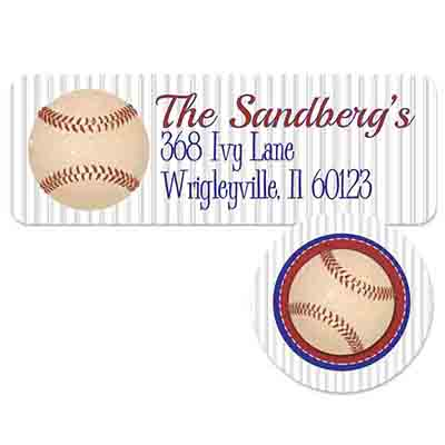baseball address label and seal