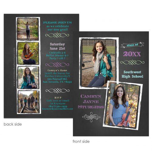 chalk frame grad invitation