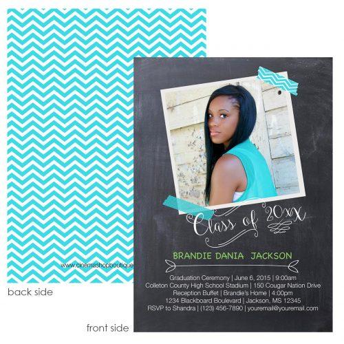 trendy chalk grad card