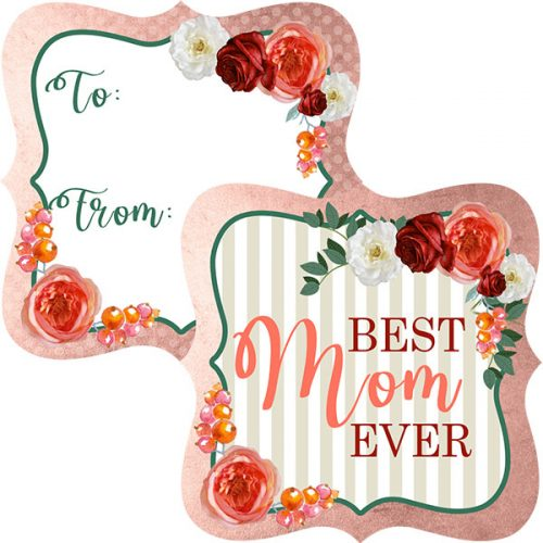 floral and stripe mothers day gift tag