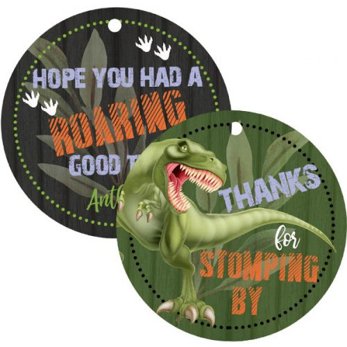 Dinosaur 3x3 gift tag with Hole