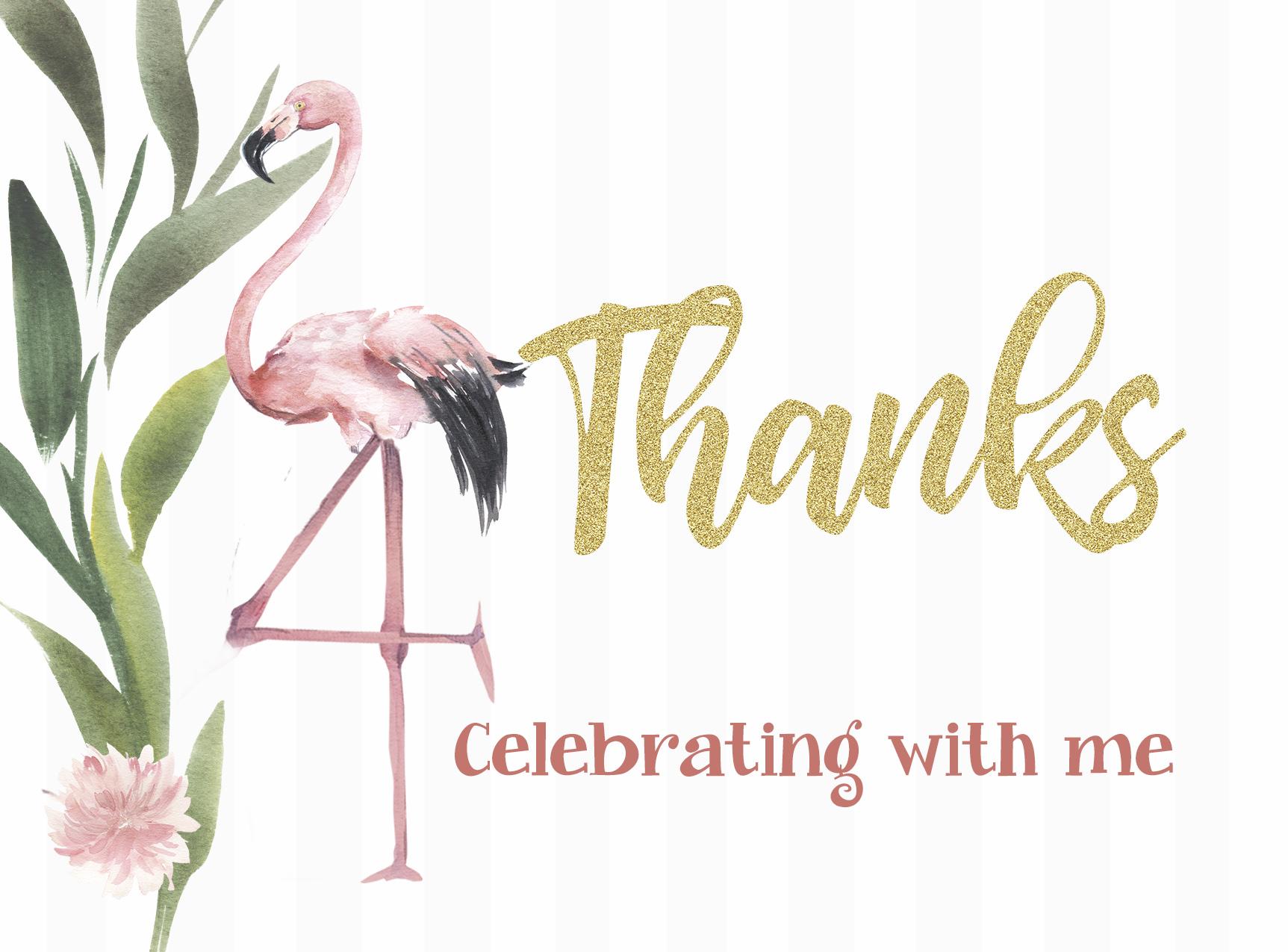 Flamingo and Pineapple Thank You Card   Jennifer Caminiti Photo + Events