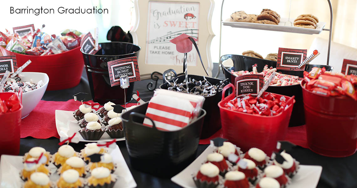 Red and black graduation candy bar