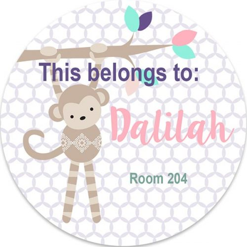 monkey personalized 3x3 label